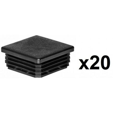 20 Embouts poteaux carrés 60mm plastiques rentrant noir