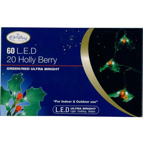 """main image of """"20 Holly Berry Lights 60 LED Green & Red Ultra Bright"""""""