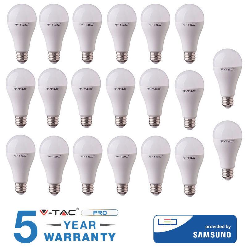 20 LAMPADINE LED 11W E27 V-TAC SAMSUNG BIANCO CALDO NATURALE FREDDO-Calda