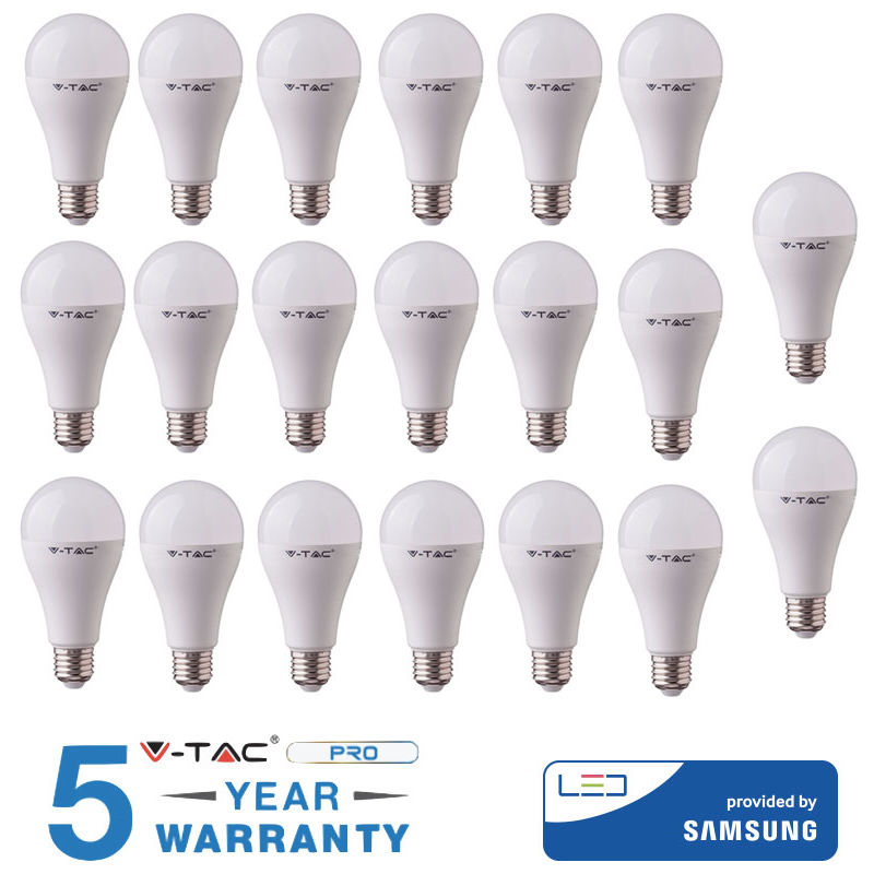 20 LAMPADINE LED 20 W E27 V-TAC SAMSUNG BIANCO CALDO NATURALE FREDDO-Calda