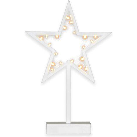 20 LED lumière décorative étoile cadre blanc chaud batterie blanche hauteur 29 cm Dekostern décoration de Noël poinsettia avec base IP20 Noël