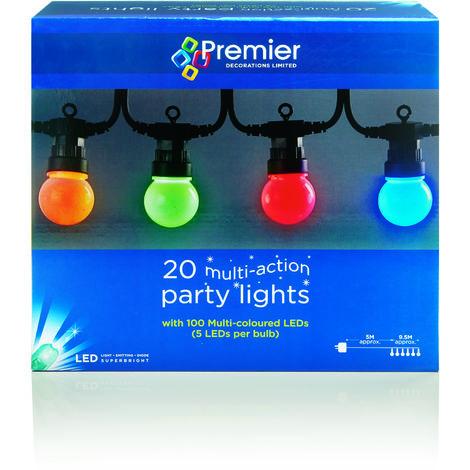 20 Multi Action Multi Colour Party Lights