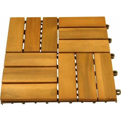 20 Pack tuiles en bois d'acacia, carrelage pour terrasse huilés MOD2