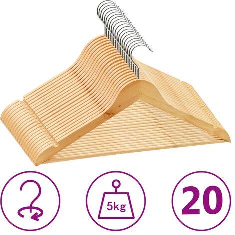 20 pcs Clothes Hanger Set Non-slip Hardwood