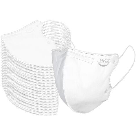 20 Pcs Masque Ffp2 5 Couches 95% Filtration Ce Masques Jetables Qualifies Kn95 Non-Tisse Tissu De Securite Masque (Forfait Individuel)