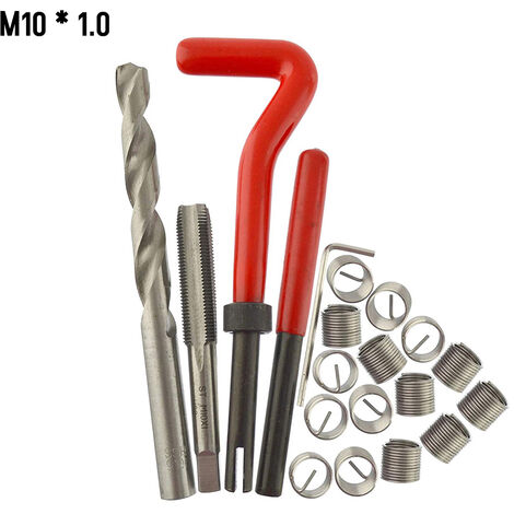 20 Pieces Kit D\'Insert De Reparation De Filetage Metrique M5 M6 M8 M10 M12 M14 Helicoil Car Pro Bobine Outil M10 * 1.0