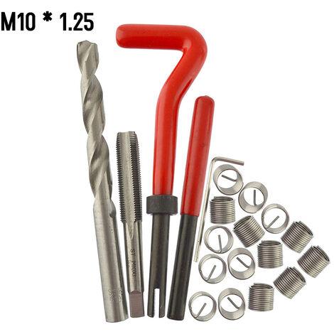 20 Pieces Kit D\'Insertion De Reparation De Filetage Metrique M5 M6 M8 M10 M12 M14 Helicoil Car Pro Bobine Outil M10 * 1.25