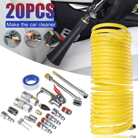20 pièces raccords de compresseur d'air Kit d'outils accessoire en acier poussière soufflette tuyau jauge tuyau de compresseur d'air