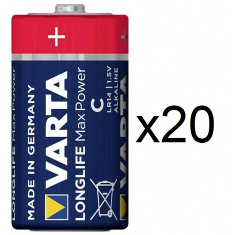 20 Piles LR20 (D) Varta Longlife Max Power alcaline
