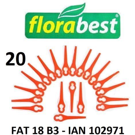 20 plaquettes de coupe / couteaux plastiques Florabest LIDL Coupe-bordures sans fil FAT 18 B3 - IAN 102971