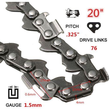 20 pulgadas 76 Enlaces 0.325 Motosierra 1.5mm Motosierra Sierra de gasolina Repuesto Metal LAVENTE