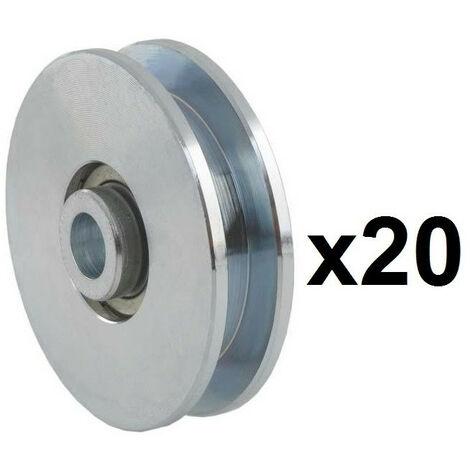 20 Roues canal Carrée 10mm - Ø60mm