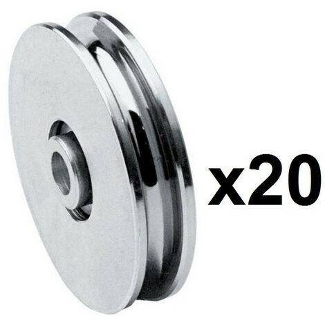 20 Roues gorge U 10mm - Ø45mm en acier