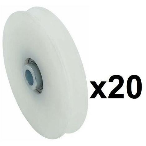 20 Roues gorge U 10mm - Ø60mm en nylon