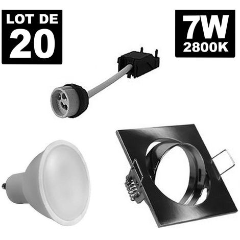 20 Spots 7W Blanc chaud carré encastrable orientable Alu brossé avec GU10 LED 3000k