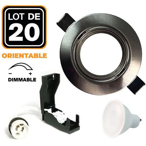 20 Spots encastrable orientable Alu Brossé avec GU10 7W Dimmable Blanc Chaud 3000K