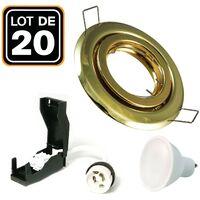 20 Spots encastrable orientable DORÉE avec GU10 LED de 5W eqv. 40W Blanc Chaud 3000K