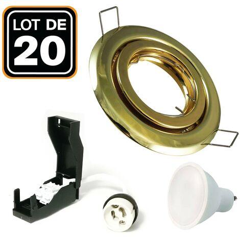20 Spots encastrable orientable DORÉE avec GU10 LED de 7W eqv. 56W Blanc Chaud 3000K