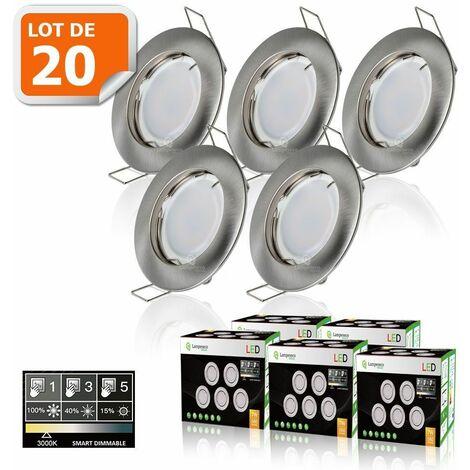 20 SPOTS LED DIMMABLE SANS VARIATEUR 7W eq.56w BLANC CHAUD FINITION ALU BROSSE