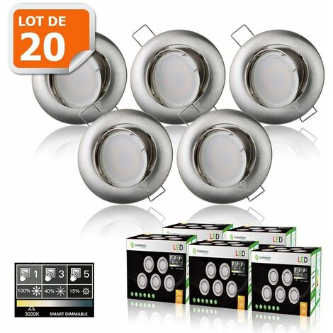 20 SPOTS LED DIMMABLE SANS VARIATEUR 7W eq.56w BLANC CHAUD ORIENTABLE