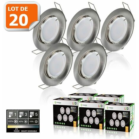 20 SPOTS LED DIMMABLE SANS VARIATEUR 7W eq.56w BLANC NEUTRE FINITION ALU BROSSE