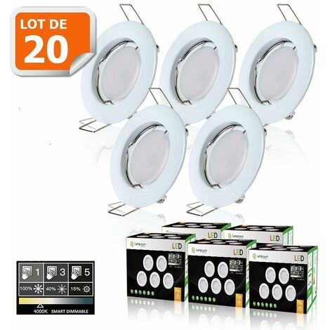 20 SPOTS LED DIMMABLE SANS VARIATEUR 7W eq.56w BLANC NEUTRE FINITION BLANC