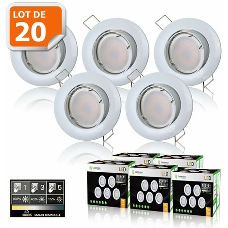 20 SPOTS LED DIMMABLE SANS VARIATEUR 7W eq.56w BLANC NEUTRE ORIENTABLE FINITION BLANC