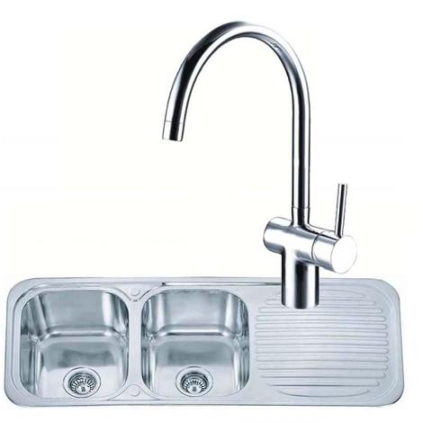 2.0 Stainless Steel Kitchen Sink & Drainer &Side Lever Chrome Mixer Tap (KST046)