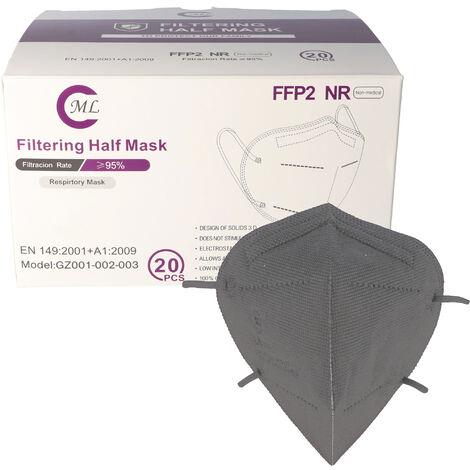 20 Stück FFP2 Maske Grau 5-Lagig, zertifiziert nach DIN EN149:2001+A1:2009, partikelfiltrierende Halbmaske, FFP2 Schutzmaske