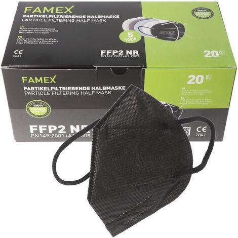 20 Stück FFP2 Maske Schwarz 5-Lagig, zertifiziert nach DIN EN149:2001+A1:2009, partikelfiltrierende Halbmaske, FFP2 Schutzmaske