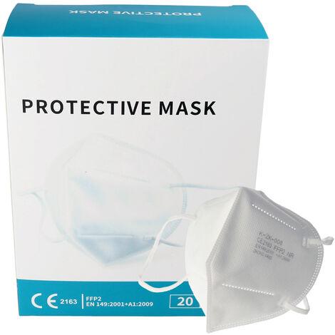 20 Stück Premium FFP2 Maske latexfrei 7-Lagig ohne Ventil, Vorratspack, zertifiziert nach DIN EN149:2001+A1:2009, partikelfiltrierende Halbmaske, FFP2 Schutzmaske