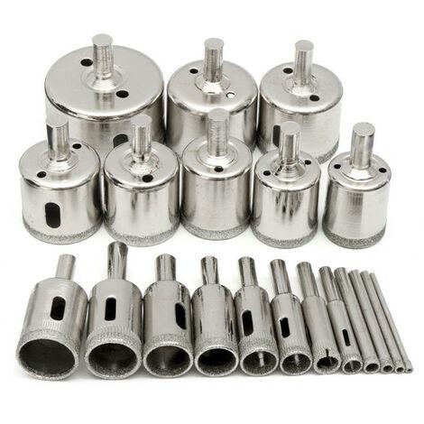 20 Stück / Set Diamant-Werkzeugbohrer Lochsägenschneider Schneiden für Glasmarmor Keramik Porzellan