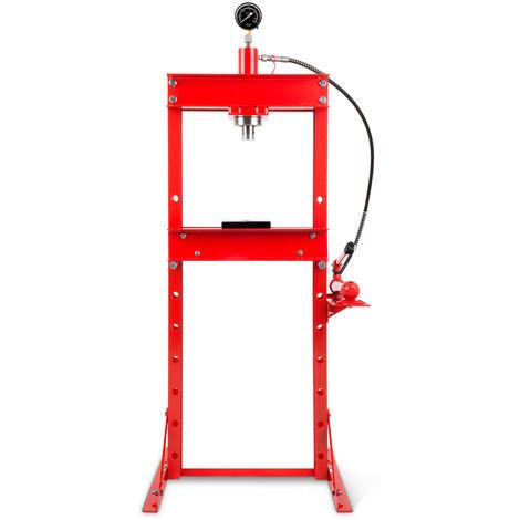 20 T Prensa hidráulica de taller con Manómetro (2 Placas Arbor, Altura de trabajo 820 mm 8 vías ajustables, Anchura de trabajo 425 mm)