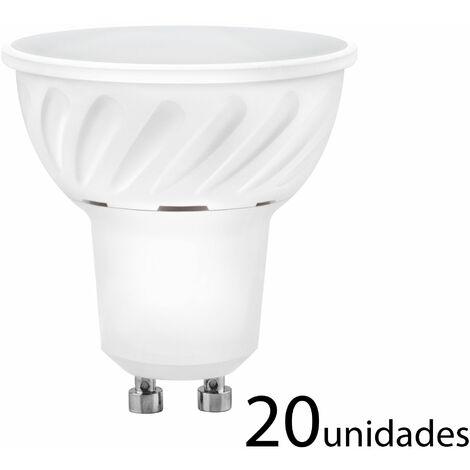 20 unidades Bombilla LED dicroica aluminio fundido 120 120 GU10 10W fría 1000lm