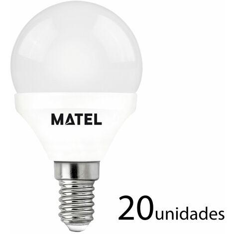 20 unidades bombilla LED esférica E14 7w cálida 650lm