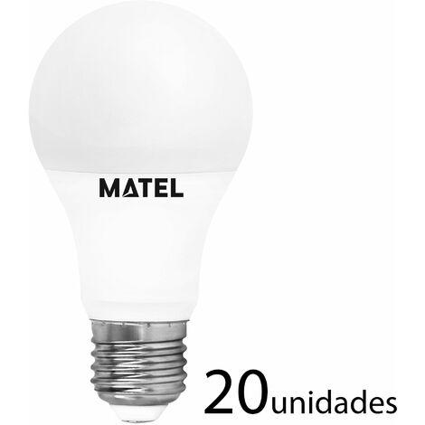 20 unidades Bombilla LED estándar E27 10w fría 1000lm