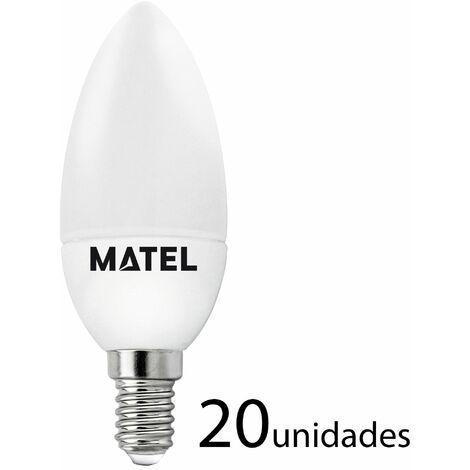 20 unidades bombilla LED vela E14 7w cálida 650lm