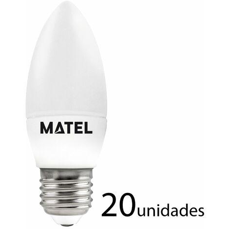 20 unidades bombilla LED vela E27 7w fría 700lm