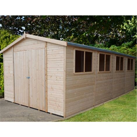 20 x 10 (5.99m x 2.99m) - Tongue & Groove - Garden Shed / Workshop - 6 Windows - Double - 12mm Tongue and Groove Floor and Roof (CORE)