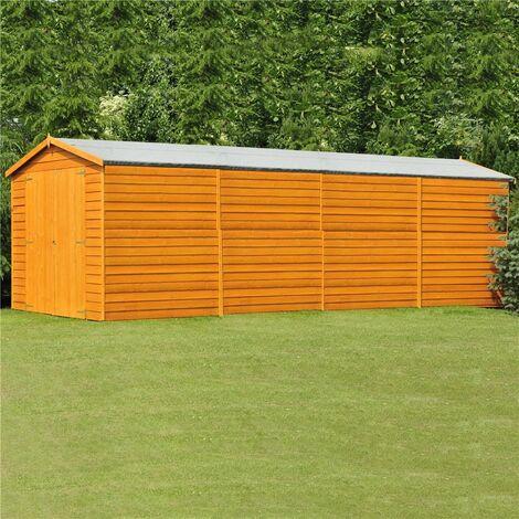 20 x 10 (6.05m x 2.99m) Windowless Dip Treated Overlap Apex Wooden Garden Shed With Double Doors (11mm Solid OSB Floor) - CORE (BS)