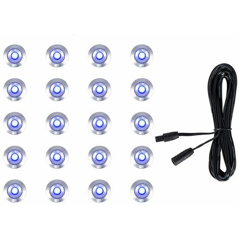 """main image of """"20 x 15mm LED Round IP67 Garden Decking / Lights Kit - 3M Extension Cable - White"""""""