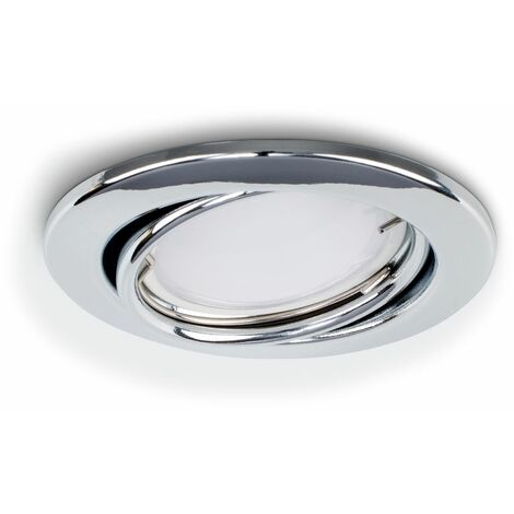 20 x Fire Rated Chrome Tiltable Gu10 Round Recessed Ceiling Downlight