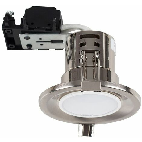 20 x Fire Rated GU10 Recessed Ceiling Downlights Spotlights - 20 x 5W GU10 LED Bulbs - Brushed Chrome - Silver