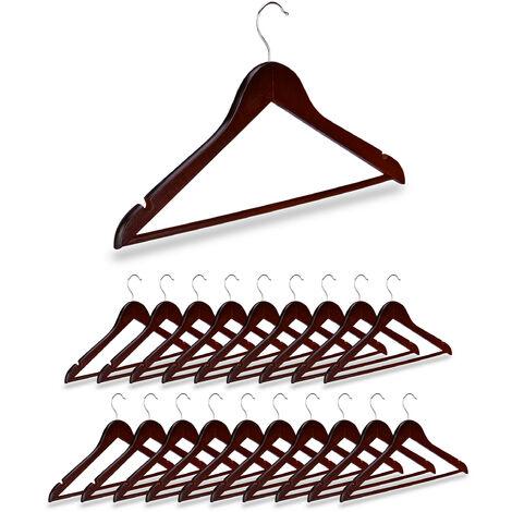 20 x Kleiderbügel Holz, Kerben, Hosensteg, Garderobenbügel, 360° drehbarer Haken, Holzbügel, 44,5 cm breit, braun