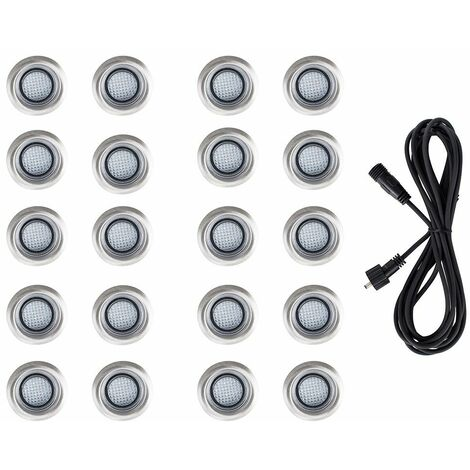 20 x LED Round IP67 Garden Decking / Lights Kit - 3M Extension Cable - White
