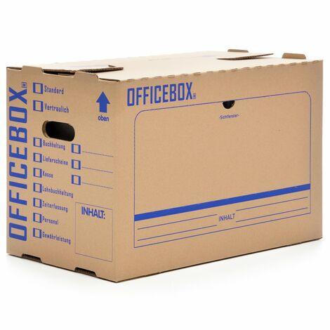 20 x Officebox® Archivbox Officebox Ordnerkarton Archivkarton mit Sichtfenster braun