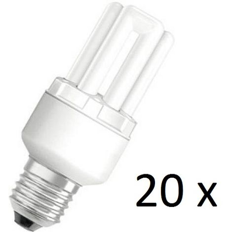 20 x Osram Dulux Star Superstar 8W/825 220-240V E27 Stick Lamp Light Bulb
