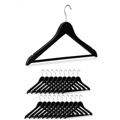 20 x Wooden Coat Hangers, Notches, Pants Rail, 360° Swivel Hooks, 44.5 cm Wide, Black
