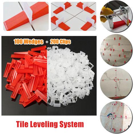 200 Clips 100 Piezas Baldosas de plástico Sistema de espaciado de nivelación de paredes Baldosas Nivel de piso Piezas Alicates de construcción Herramienta Conjunto de piso de baldosas Hasaki