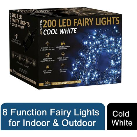 200 COLD WHITE LED FAIRY LIGHTS - MULTI FUNCTION